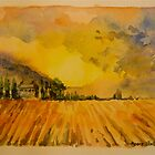 Ploughed field, Tuscany. Watercolour. 32x24cm. Framed. 2010 by Elizabeth Moore Golding