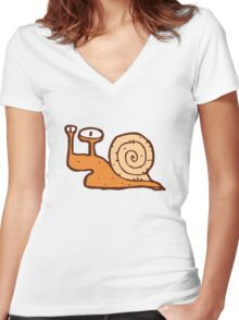 Cute funny cartoon snail Women's Fitted V-Neck T-Shirt