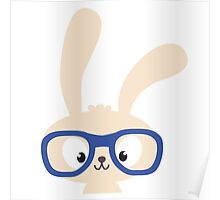 Smart easter bunny with glasses Poster