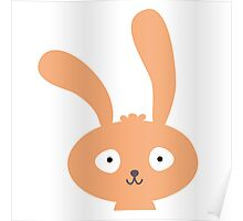 Funny cartoon bunny smiling Poster