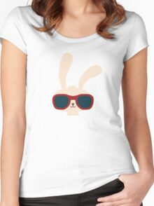 Cute easter bunny with sunglasses Women's Fitted Scoop T-Shirt