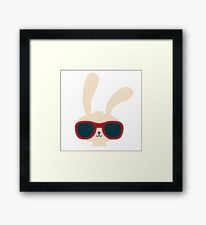Cute easter bunny with sunglasses Framed Print