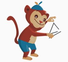 Cute cartoon monkey playing triangle Kids Clothes