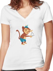 Cute cartoon monkey playing triangle Women's Fitted V-Neck T-Shirt
