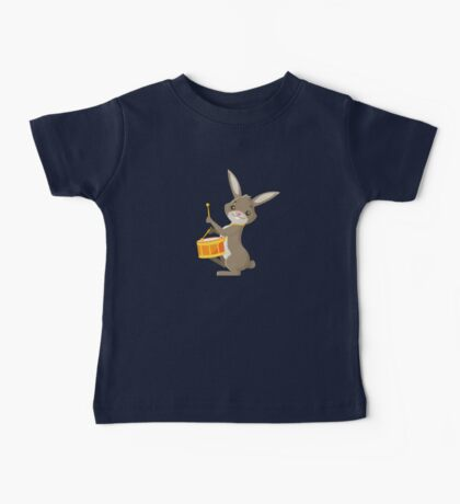 Funny cartoon rabbit playing drums Baby Tee