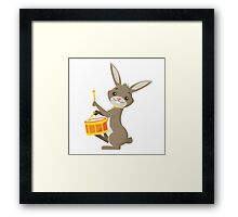 Funny cartoon rabbit playing drums Framed Print
