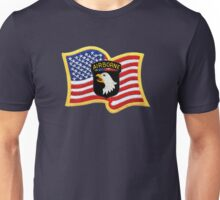 101st ABN Patch and American Flag Unisex T-Shirt
