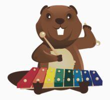 Cute happy cartoon beaver playing xylophone Kids Tee