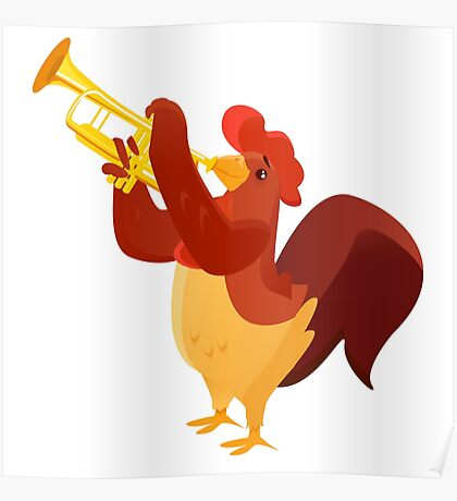 Funny cartoon rooster playing trumpet Poster