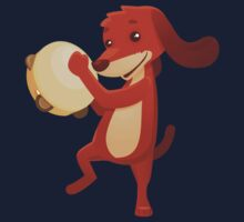 Cute happy cartoon dog playing tambourine Kids Clothes