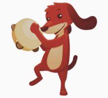Cute happy cartoon dog playing tambourine One Piece - Short Sleeve