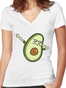 AVOCADO DAB Women's Fitted V-Neck T-Shirt