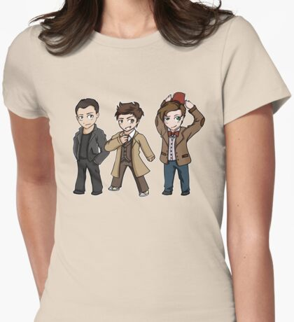 Superwholock - Doctor Who Chibis Womens Fitted T-Shirt