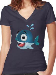 Cute cartoon whale splashing water Women's Fitted V-Neck T-Shirt