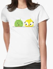 Two cute birds in love Womens Fitted T-Shirt