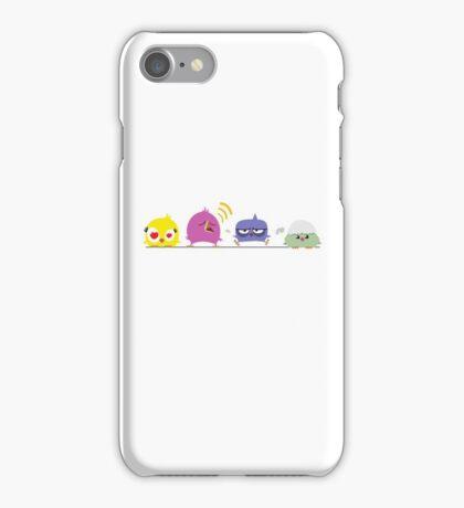 Funny cartoon birds on pole iPhone Case/Skin