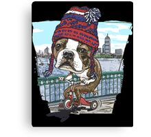 Boston Terrier Wicked Pissah Tricycle Adventure Canvas Print