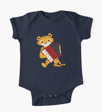 Cartoon tiger playing music with accordion One Piece - Short Sleeve