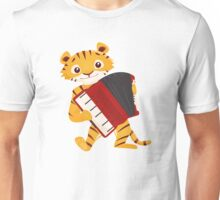 Cartoon tiger playing music with accordion Unisex T-Shirt