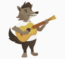 Cute wolf playing music with guitar Kids Clothes