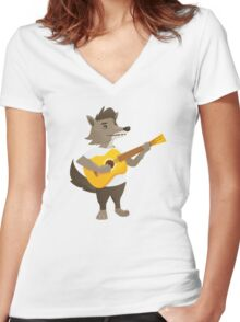 Cute wolf playing music with guitar Women's Fitted V-Neck T-Shirt