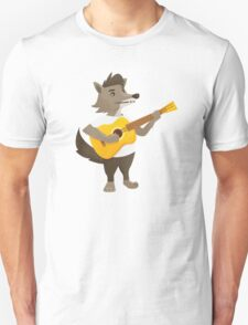 Cute wolf playing music with guitar Unisex T-Shirt
