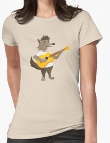 Cute wolf playing music with guitar Womens Fitted T-Shirt