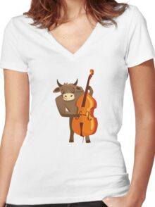 Funny ox playing music with cello Women's Fitted V-Neck T-Shirt