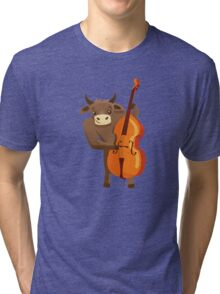 Funny ox playing music with cello Tri-blend T-Shirt