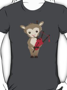 Cartoon sheep playing music with bagpipe T-Shirt