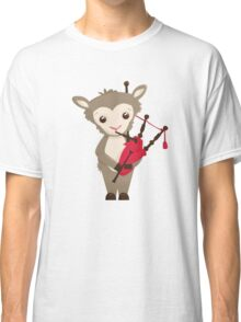 Cartoon sheep playing music with bagpipe Classic T-Shirt