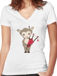 Cartoon sheep playing music with bagpipe Women's Fitted V-Neck T-Shirt