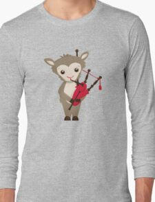 Cartoon sheep playing music with bagpipe Long Sleeve T-Shirt