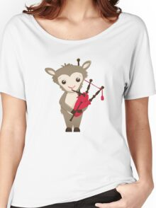 Cartoon sheep playing music with bagpipe Women's Relaxed Fit T-Shirt