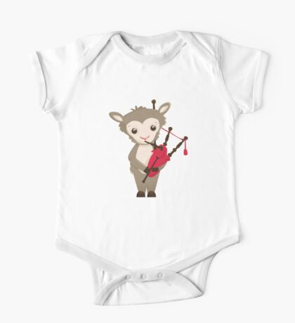 Cartoon sheep playing music with bagpipe One Piece - Short Sleeve