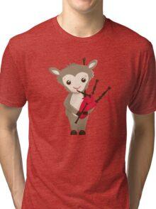 Cartoon sheep playing music with bagpipe Tri-blend T-Shirt