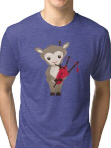 Cartoon sheep playing music with bagpipe Tri-blend T-Shirt