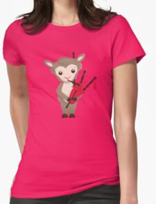 Cartoon sheep playing music with bagpipe Womens Fitted T-Shirt
