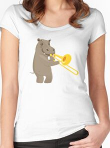 Funny hippo playing music with trombone Women's Fitted Scoop T-Shirt
