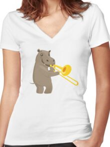 Funny hippo playing music with trombone Women's Fitted V-Neck T-Shirt