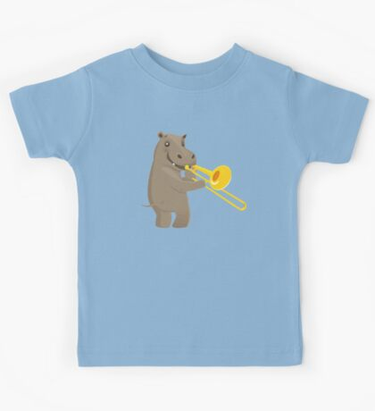 Funny hippo playing music with trombone Kids Tee