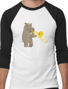 Funny hippo playing music with trombone Men's Baseball ¾ T-Shirt