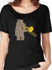 Funny hippo playing music with trombone Women's Relaxed Fit T-Shirt