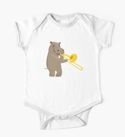 Funny hippo playing music with trombone One Piece - Short Sleeve