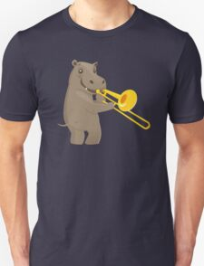 Funny hippo playing music with trombone Unisex T-Shirt