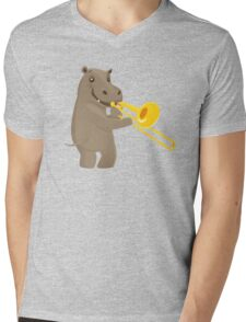 Funny hippo playing music with trombone Mens V-Neck T-Shirt