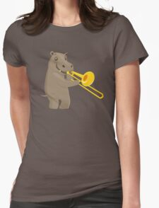 Funny hippo playing music with trombone Womens Fitted T-Shirt