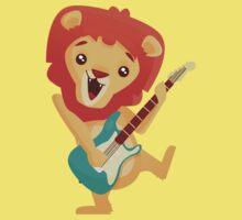 Cartoon lion playing music with electric guitar Kids Clothes
