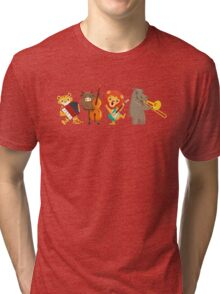 Four funny animals playing in a band Tri-blend T-Shirt