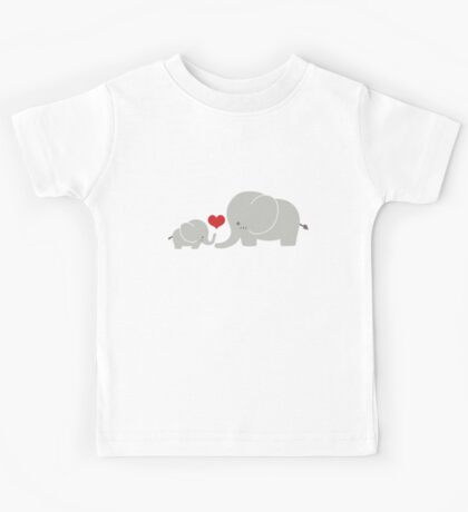Baby and parent elephant with heart Kids Tee